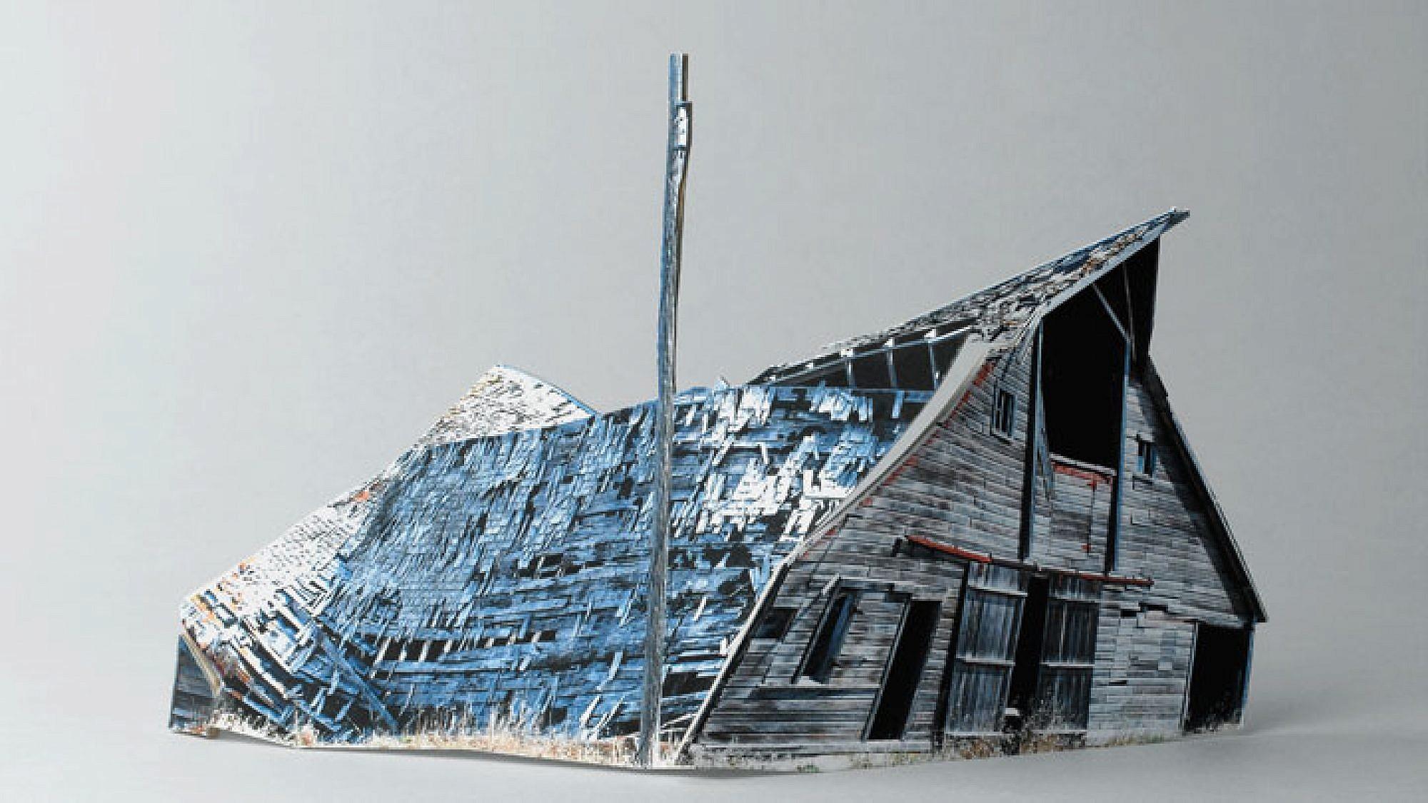 """עופרה לפיד מתוך הסדרה """"בתים שבורים"""", 2011־2010, הזרקת דיו על נייר ארכיוני, 30 36xס""""מ"""