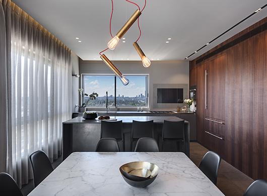 בחלל עמוס בפונקציות שולב גוף תאורה מפליז שהוא מעין תכשיט מעל שולחן האוכל שממקד את המרחב המשתוף בצורה מינימליסטית ומעודנת   אדריכלות ועיצוב פנים: ערן בינדרמן   צילום: עודד סמדר