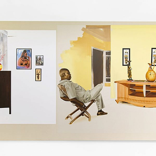 Ruse of Disavowal, מהסדרה Pax Kaffraria, 2013, שמן פחם על בד, צילום הצבה מתוך הביאנלה בליאון, המוזיאון לאמנות עכשווית, ליאון, צרפת. באדיבות האמנית Meleko Mokgosi וגלריה Jack Shainman, ניו יורק