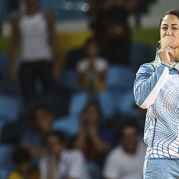 RIO DE JANEIRO, BRAZIL - AUGUST 09:  Yarden Gerbi of Israel celebrates afte winning the bronze medal against Miku Tashiro of Japan (not in frame) after the Women's -63kg bronze medal a bout on Day 4 of the Rio 2016 Olympic Games at the Carioca Arena 2 on August 9, 2016 in Rio de Janeiro, Brazil. (Photo by William Volcov/Brazil Photo Press/LatinContent/Getty Images)/Getty Images)