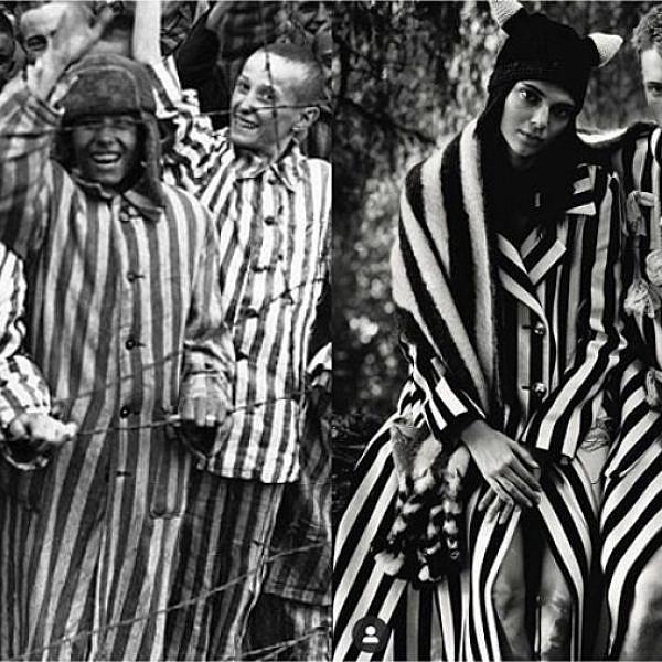 קנדל ג'נר עם החליפה של לואווה, יהודים במלחמת העולם השנייה | צילום מסך מעמוד האינסטגרם diet_prada