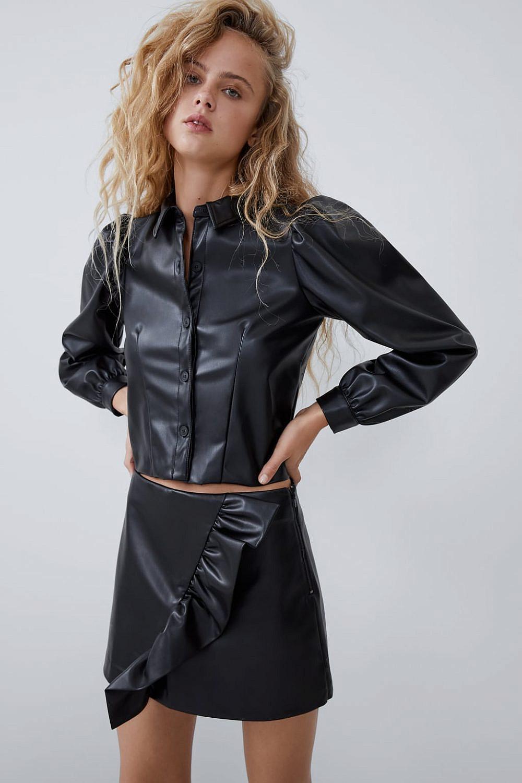 חצאית מבד דמוי עור, מחיר 129 | צילום מסך מהאתר של זארה
