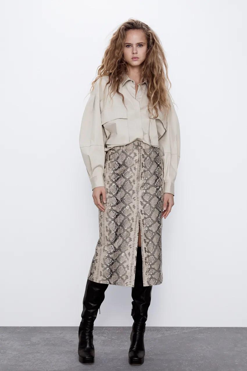 חצאית בהדפס נחש של זארה | צילום מסך מהאתר