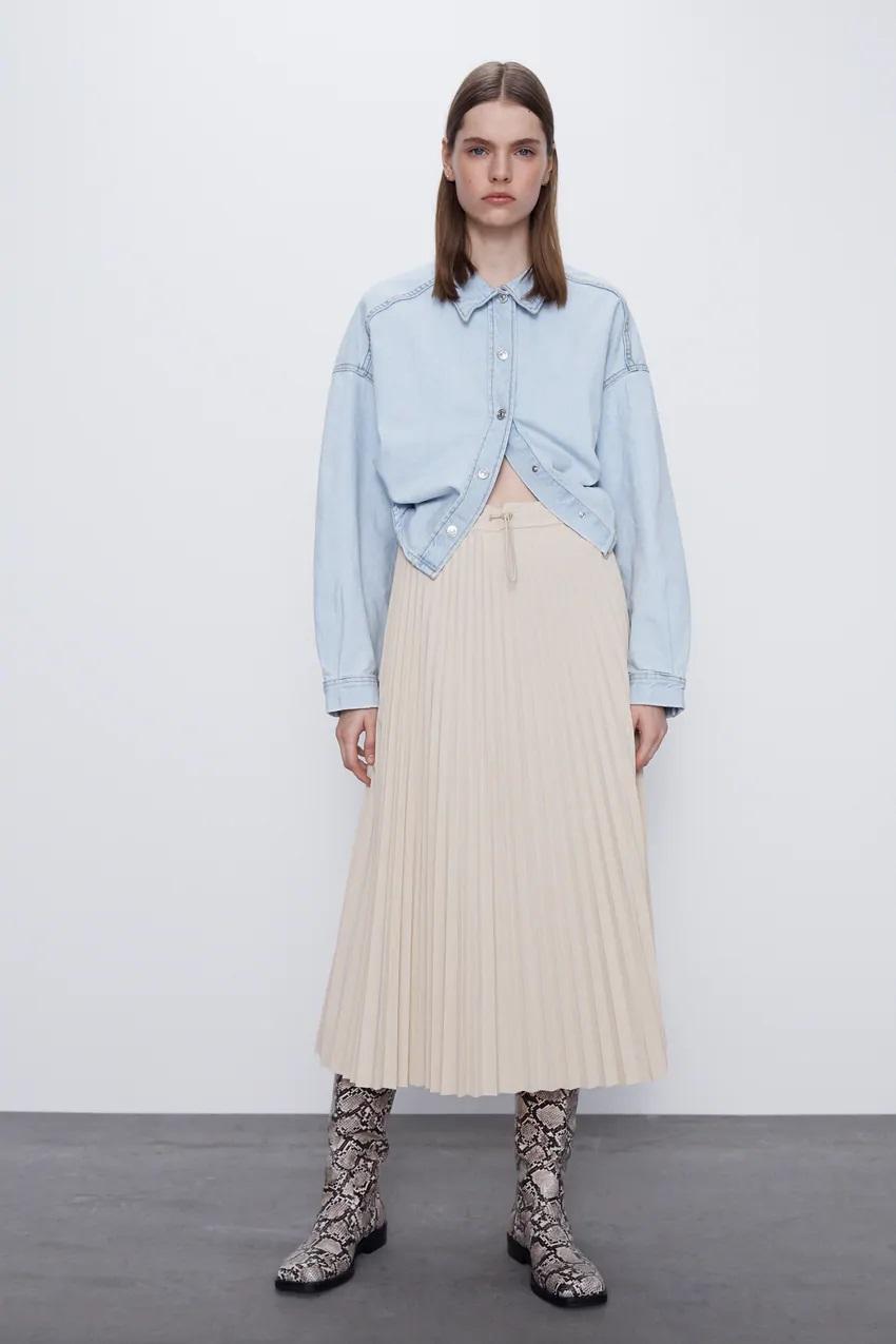 חצאית פליסה של זארה | צילום מסך מהאתר