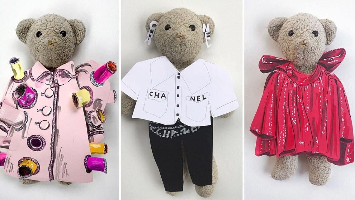 ג'יי ג'יי הדובי בלוקים מהתצוגות של בלנסיאגה, שאנל וויקטור אנד רוף | צילום מסך מעמוד האינסטגרם: jj_is_fashion