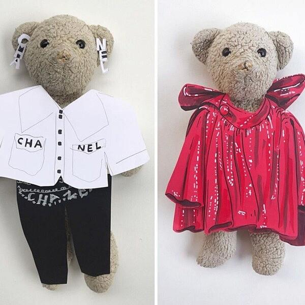 ג'יי ג'יי הדובי בלוקים מהתצוגות של בלנסיאגה, שאנל וויקטור אנד רוף   צילום מסך מעמוד האינסטגרם: jj_is_fashion