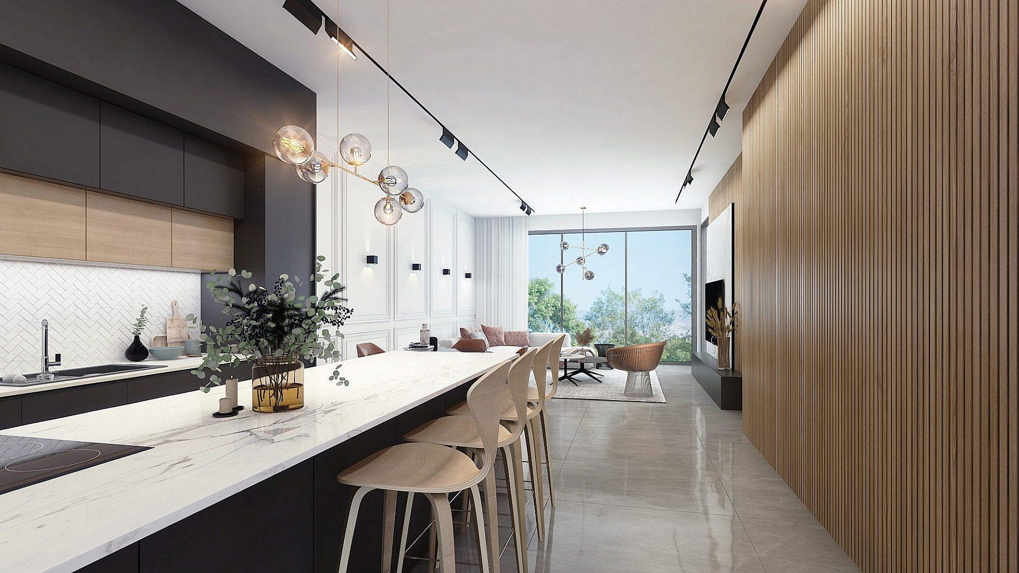חלונות גדולים בגודל קיר המכניסים את החוץ פנימה | תכנון ועיצוב: שחר הכט, צילום: ליאור טייטלר