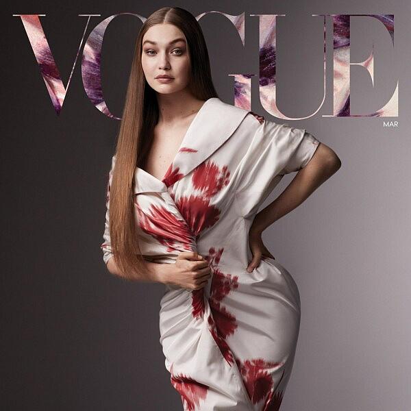 ג'יג'י חדיד לובשת פראדה על שער גיליון מרץ של