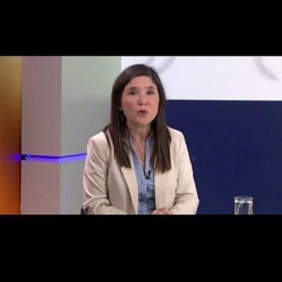 """לילי בן עמי בכנס אלימות נגד נשים באו""""ם. צילום מסך"""