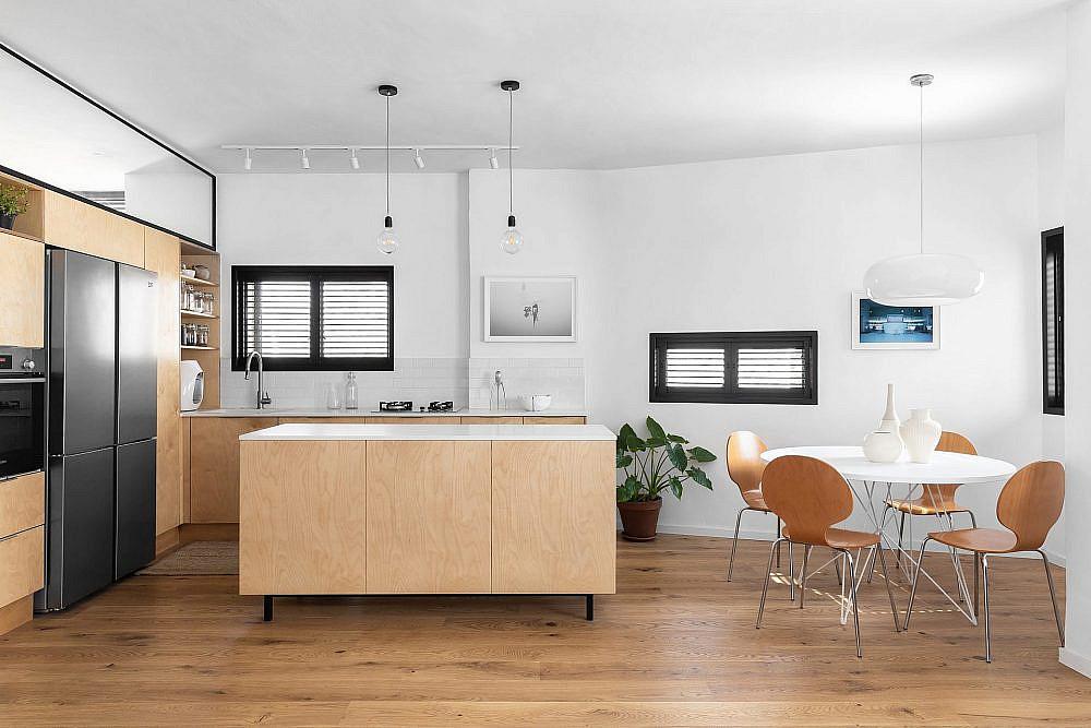המטבח ופינת האוכל. חלל פתוח | עיצוב: תמי פמפנל שנקר, צילום: מאיה אבגר