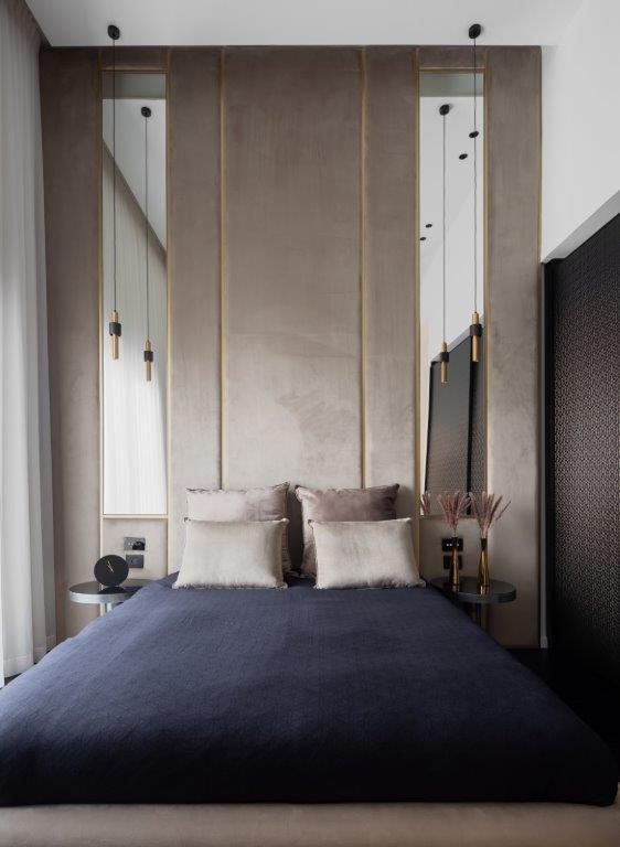 חיפוי מרופד על קיר גבס. חדר השינה | עיצוב פנים: דניאל מיכאלי, צילום: שרון צרפתי